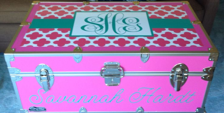 Summer Camp Trunks personalized by  CAMP COUTURE  $325.00  Exclusive designs to view and order via Facebook!