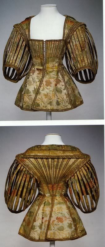 early 17th century top. the slashing of the sleeves was considered especially prestigious/wasteful/decadent: