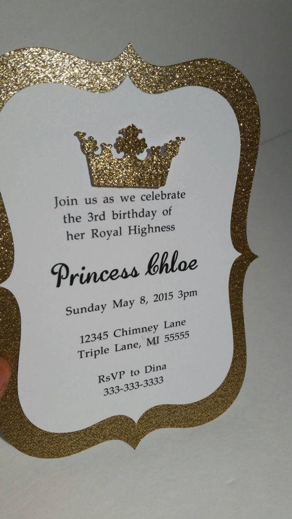 10 Gold/Royal Blue Prince or Princess Invitations Royalty