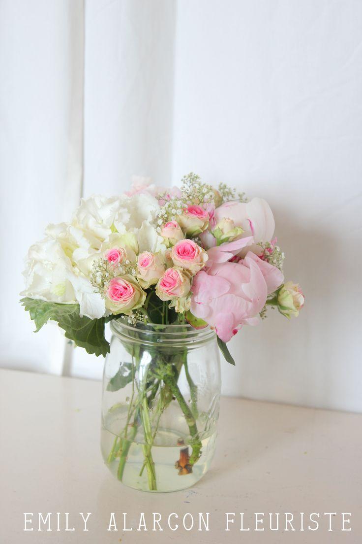 centre de table boh me bocal le parfait hortensia roses gypsophile pivoine fleurs. Black Bedroom Furniture Sets. Home Design Ideas