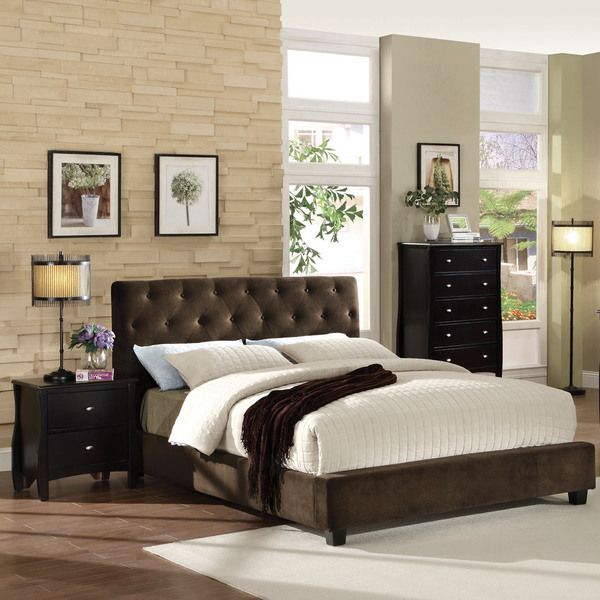 Furniture Of America Breliez Dark Brown Velvet Platform Bed