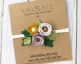 Felt flower Headband // Poppy floral headpiece // Felt flower birthday crown // Baby Nylon headband // Lavender Mustard // kikiandbee