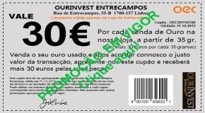 Promoção Vale 30 euros.