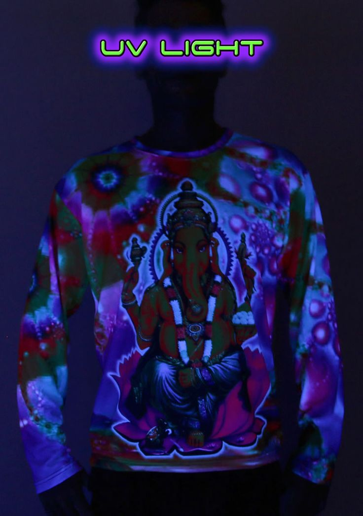"Sublime L/S T : Psy Ganesha Fully printed long sleeve T shirt. This shirt is an ""All Over"" printed T shirt that will really grab people's attention. Printed using sublimation dyes on a high quality polyester / Dri-Fit blended shirt. This allows for extremely vibrant colors that will never fade away no matter how many times it gets washed, & results in an extremely soft ""feel"" to the shirt, providing ultimate comfort. Fabric is 100% Polyester/Dri-fit. Artwork by Space Tribe"