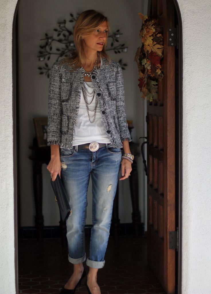 Love boucle jackets - Klappe, die Wievielte? Egal! Bouclé-Jacke mit Boyfriend-Jeans und Pumps ist immer toll, toll, toll...