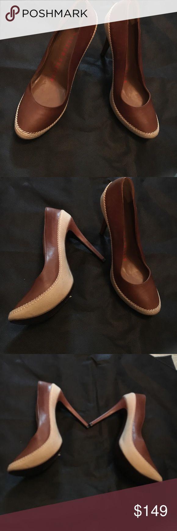 Walter Steiger heel Walter Steiger two tone linen leather heels Walter Steiger Shoes Heels