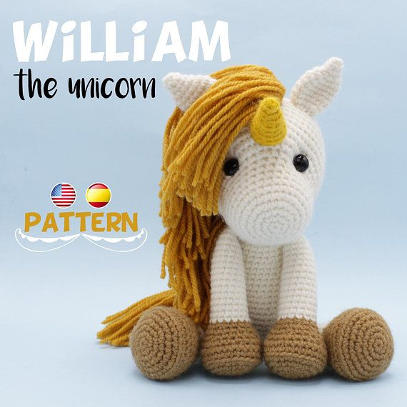 Please note that this is an unicorn crochet PATTERN, NOT THE FINISHED TOY. The amigurumi unicorn PDF tutorial will be available for download immediately after purchase. Available in English and Spanish. ABOUT THE PATTERN: This crochet pattern contains a detailed description of how to