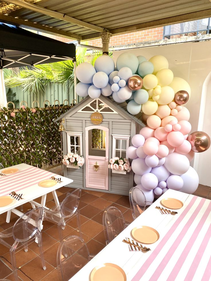 1st birthday party decorations. Kmart hack cubby house