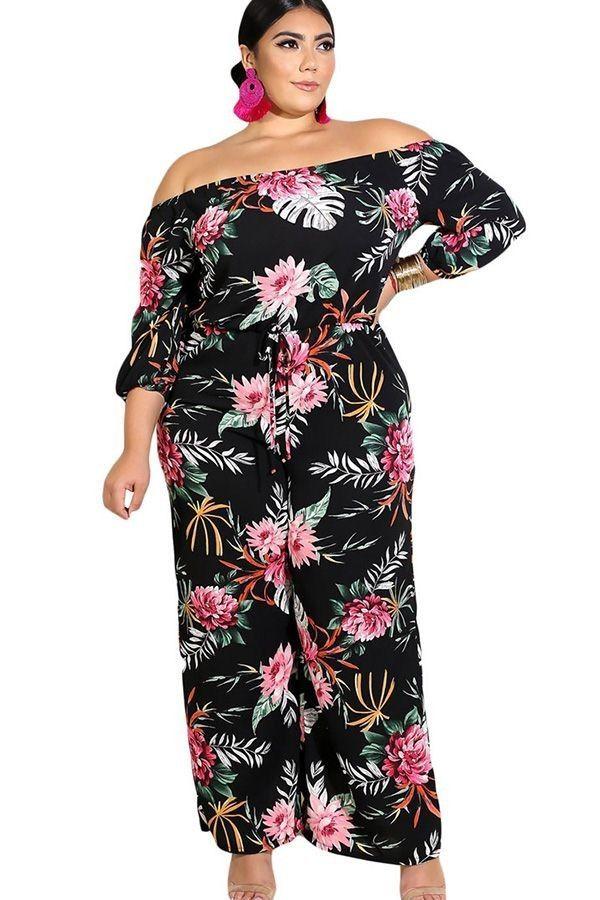 59ecc846ce1 Black Floral Print Off Shoulder High Waist Sexy Plus Size Jumpsuit ...