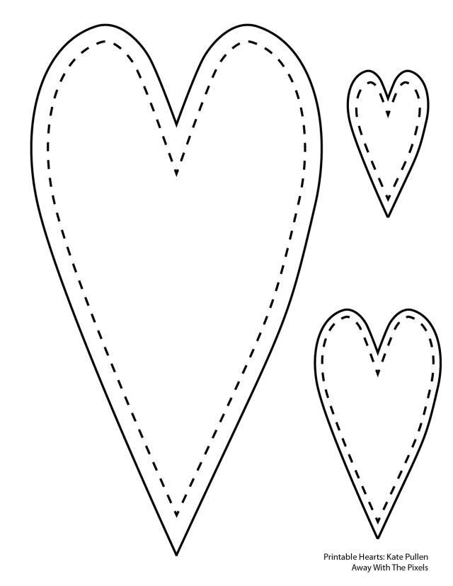 5 Free Heart Shaped Printable Templates for Your Craft Projects: Long Thin Heart Template With Stitched Border