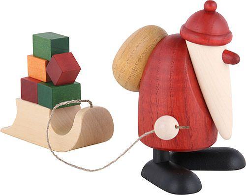 Santa Claus with sleigh with presents - 9cm / 3.5inch