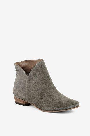 Grey Suede Low Ankle Boots     -Suede     -Fancy/Plain Contrast