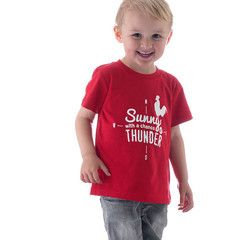Red kids tee - Sunny with a chance of THUNDER