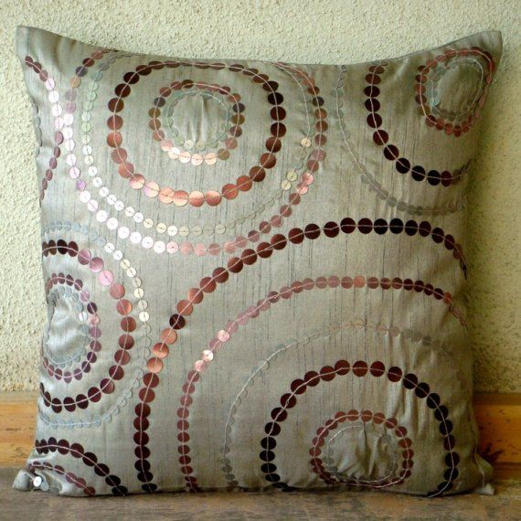 Nozioni d'argento - Throw Pillow Covers - 16 x 16 pollici copricuscino seta con paillettes