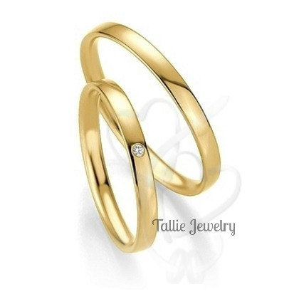 His and Hers Wedding Bands,10K Yellow Gold Diamond Wedding Rings,Womens Wedding Bands,Matching Wedding Rings,Mens Wedding Bands by TallieJewelry on Etsy