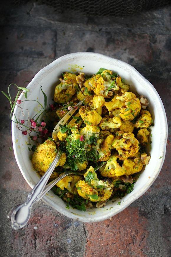 Spiced Roasted Cauliflower with Walnut, Cilantro & Mint #recipe