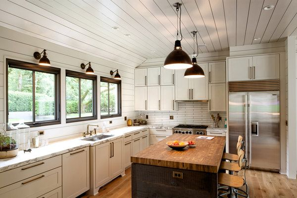 WHITE CABINETS, BRASS, SCONCES, WOODEN ISLAND  Nothing Fancy
