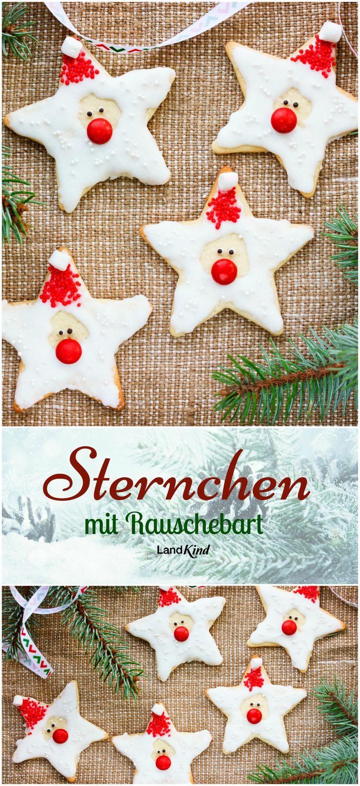 Zuckersüß: Zum Verzieren der Weihnachtssternchen werden Puderzucker und Zitronensaft zu einem glatten Guss verrührt, der dann auf den Zacken der Sterne verstrichen wird. Nun folgen rote Schokolinsen als Nasen, dunkle Zuckerperlen als Augen, rote Zuckerperlen als Mützen und Mini-Marshmallows als Zipfel an den Mützchen.