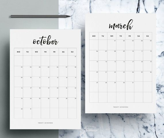 2017 Monthly Calendar Printable | 12 Month Calendar Pages | Monthly Planner | A4 | US Letter | Black White | Instant Download