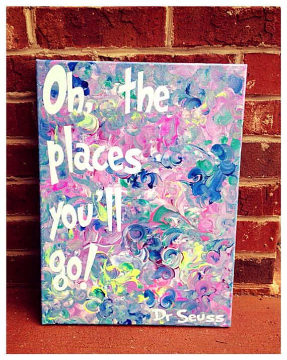 Oh the places you'll go canvas quote 12 x 16 Christmas on Etsy, $21.00
