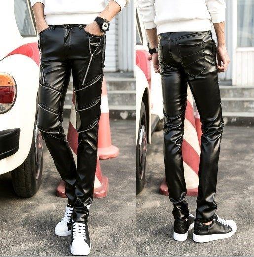Mens Faux Leather Pants For Men Skinny Black Trousers Men's Pu Leather Slim Pants Hip Hop Zipper Decoration Pantalon Homme