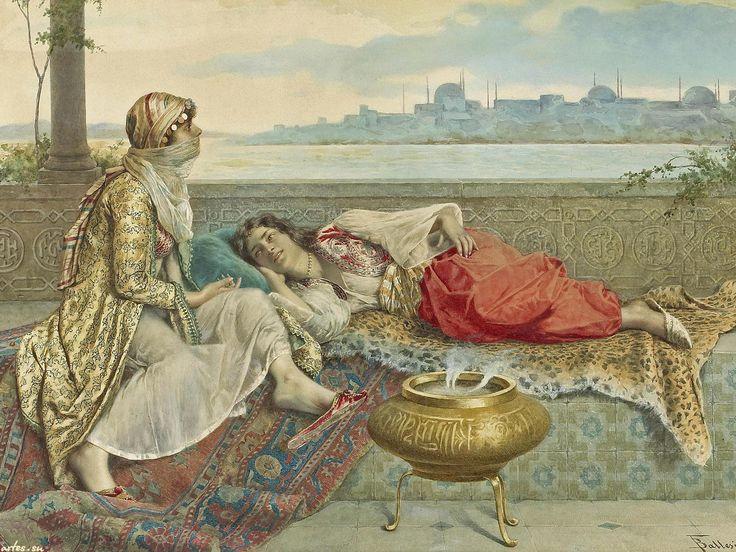 Скачать обои восток, две девушки на террасе, Константинополь, Francesco Ballesio 1600x1200