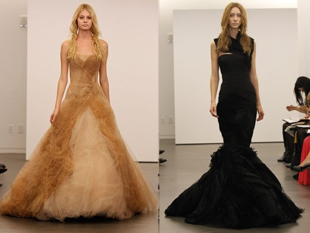 Vera Wang nude & black wedding dress for the bride that dares to cross 'the line'