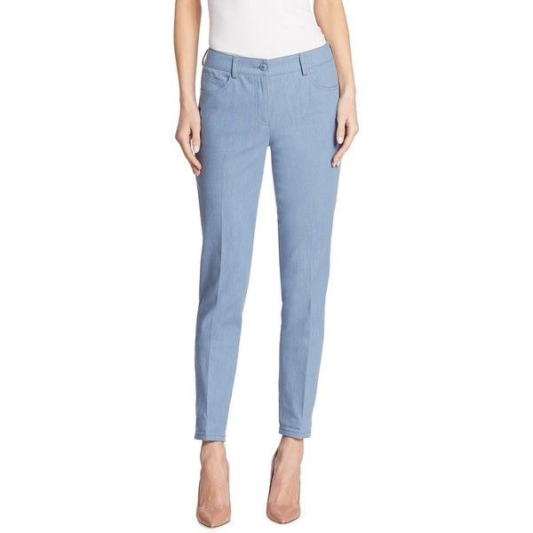 Akris Magda Skinny Pants ($895) ❤ liked on Polyvore featuring pants, tailored trousers, blue pants, zipper pants, 5 pocket pants and skinny pants