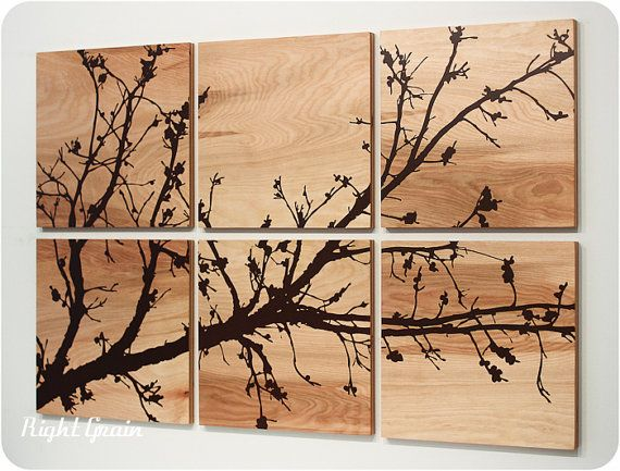 Pretty branches in bloom original wall art on wood grain panels - Wooden panel art ...
