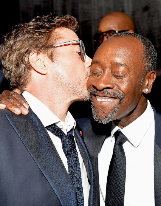 "sbstianstan:  "" ""Robert Downey Jr. kisses honoree Don Cheadle during the 2016 ABFF Awards: A Celebration Of Hollywood at The Beverly Hilton Hotel on February 21, 2016 in Beverly Hills, California.  "" """