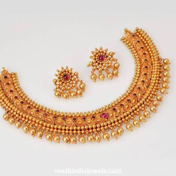 Gold Choker Necklace Designs, Gold Antique Choker Necklace Designs