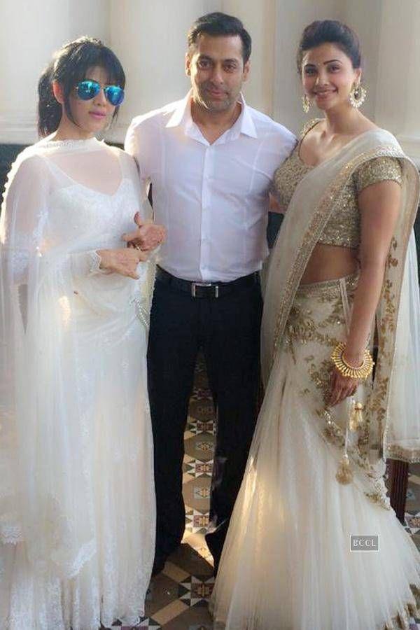 Salman Khan and Daisy Shah with Wardha Nadiadwala during Arpita Khan and Aayush Sharma's wedding celebrations. #Bollywood #Fashion #Style #Beauty #Wedding