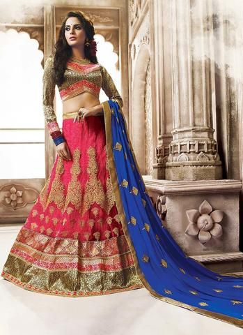 Red Netted Wedding Lehenga Online Shopping Clothes ,Indian Dresses - 1