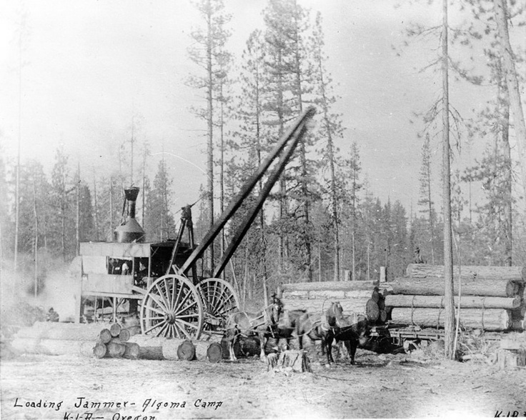 Early logging equipment in use on the former Klamath Reservation. Oregon, ca 1900.