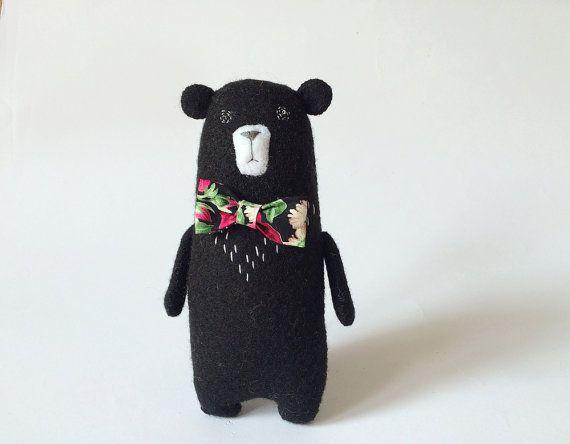 Black Felt Bear With A Bow Felted Miniature Animals Felt by Amuru