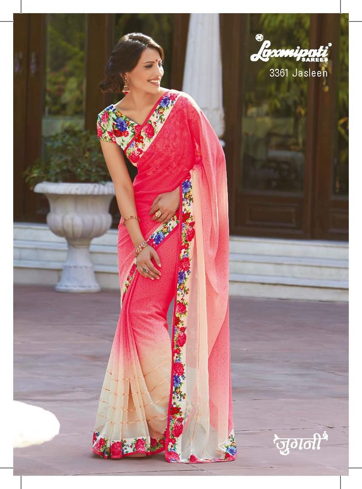 The flavor of color richness and concept of work saree, both are come together in georgette saree. The gota lace on the cream pedding & printed floral lace-blouse are adding more luxuriance.