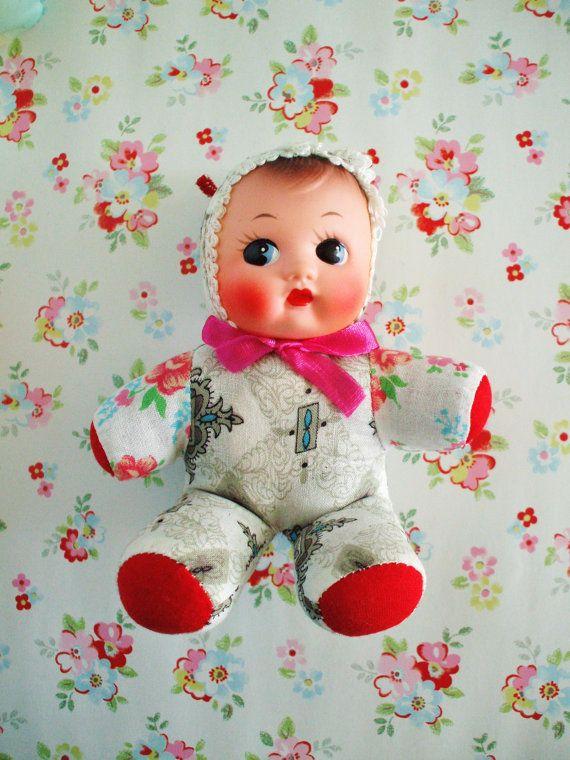 Vintage Cloth Doll-Squeak-Pram by FineAndDandyMarazion on Etsy