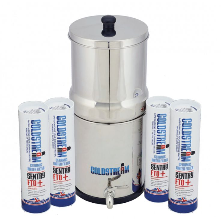 Coldstream Sentry Gravity Water Filter System with 4 FiltersSimply the best and most cost effective portable gravity filter on the market today Supplied with four powerful 2.9