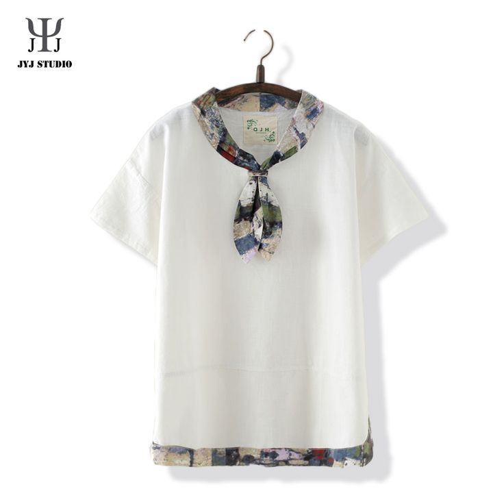 Aliexpress.com : Buy Institute Wind Cotton Summer Blouses For Women Printed Flower Tie Casual T shirt Short Sleeve Square Neck White Shirt from Reliable blouse men suppliers on JYJ STUDIO