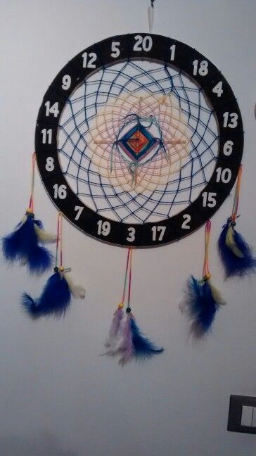 Alternative Dreamcatcher made using a piece of dartboard