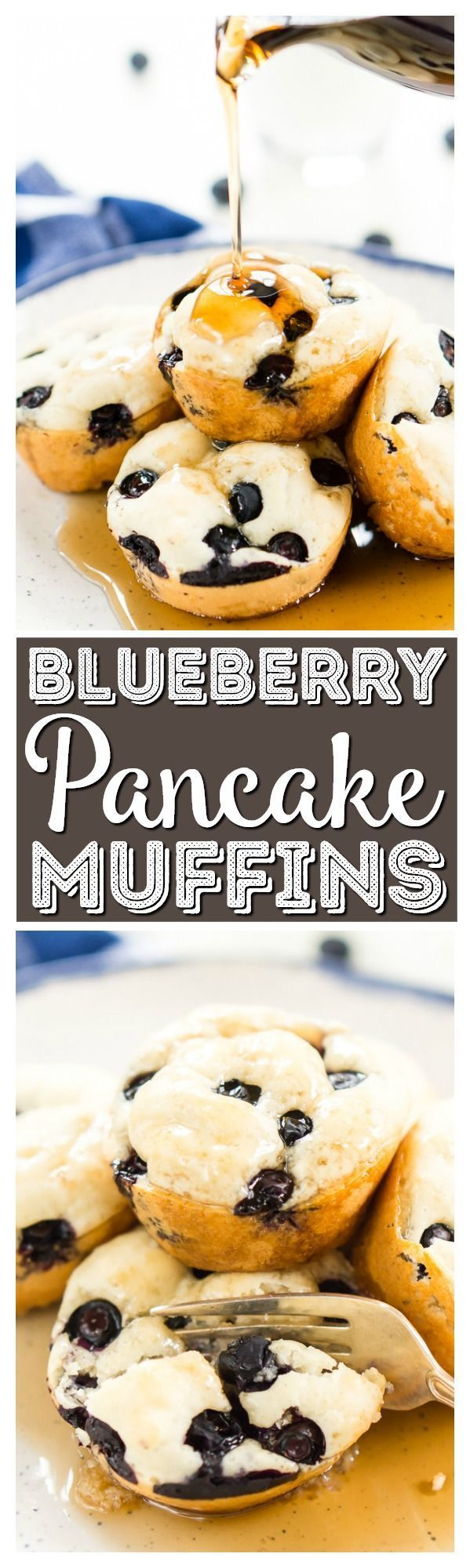 Blueberry Pancake Muffins are a simple, portable, 4-ingredient breakfast or snack both you and your kids will love. Perfect for those crazy school mornings or weekends on the go or you can enjoy them at home with butter and maple syrup! via @sugarandsoulco