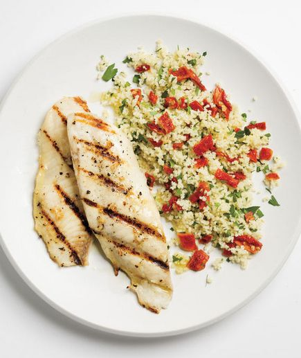 From Real Simple: Garlicky Grilled Tilapia With Couscous Recipe