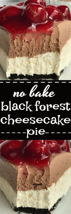 Black forest cheesecake pie is no bake and can be made in just minutes! Ready-to-use chocolate cookie crust with two layers of smooth cream pie filling. Top with a spoonful of canned cherry pie filling and you have a seriously amazingly delicious dessert loaded with chocolate, cherry, and cheesecake flavors.