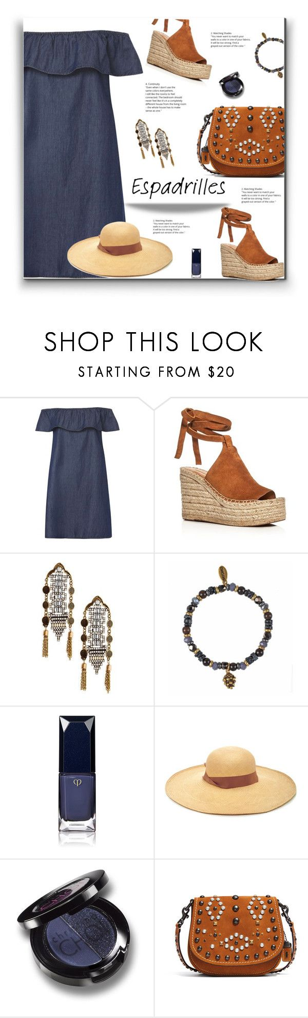 """Step Into Summer"" by yummymummystyle ❤ liked on Polyvore featuring Dorothy Perkins, Sigerson Morrison, Shashi, Hultquist, Clé de Peau Beauté, Sensi Studio, Christina Choi Cosmetics, Coach 1941, chambray and MyStyle"