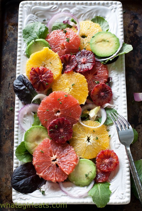 Winter Citrus Salad Recipe with avocado and goat cheese. Vegetarian Salad Recipes