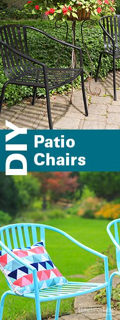 Sit in style this summer! These easy turquoise patio chairs can be made in just a few simple steps. This DIY tutorial shows you quick steps to give your chairs a makeover that's durable and stops rust! These cute, colorful chairs will last you through summer, fall, winter and spring!