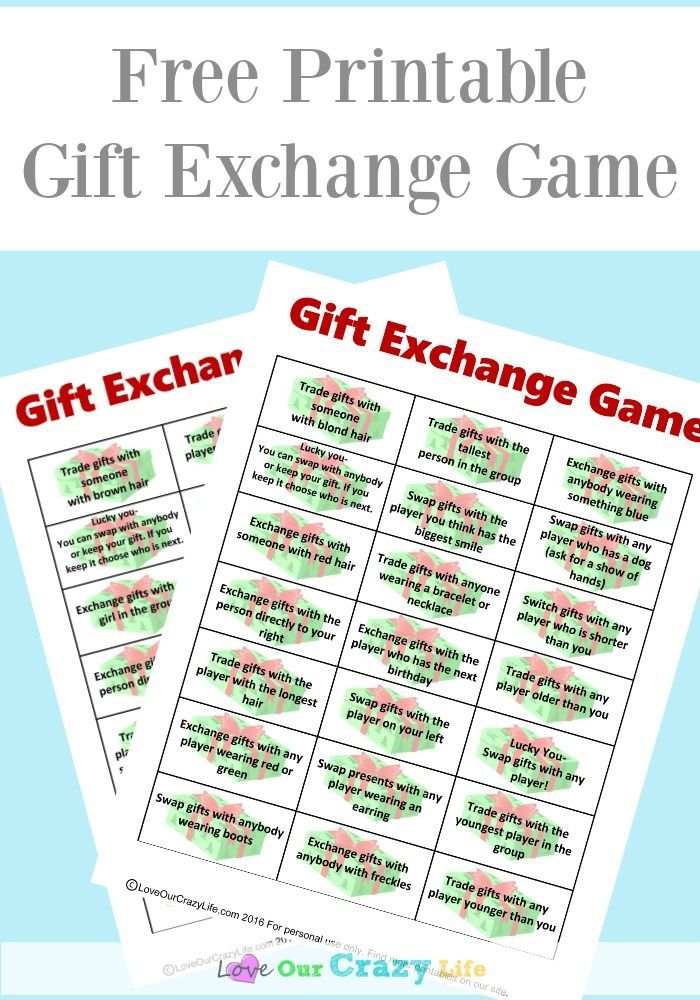 Fun twist on a gift exchange game. Perfect for work, family, or other gift exchanges. Free printable! via @thebeccarobins