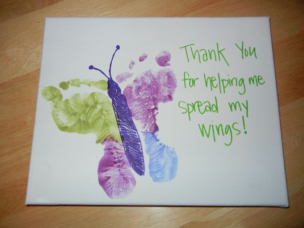 Footprint Teacher's Day Card. Say Thank You to the teachers with these special handmade cards