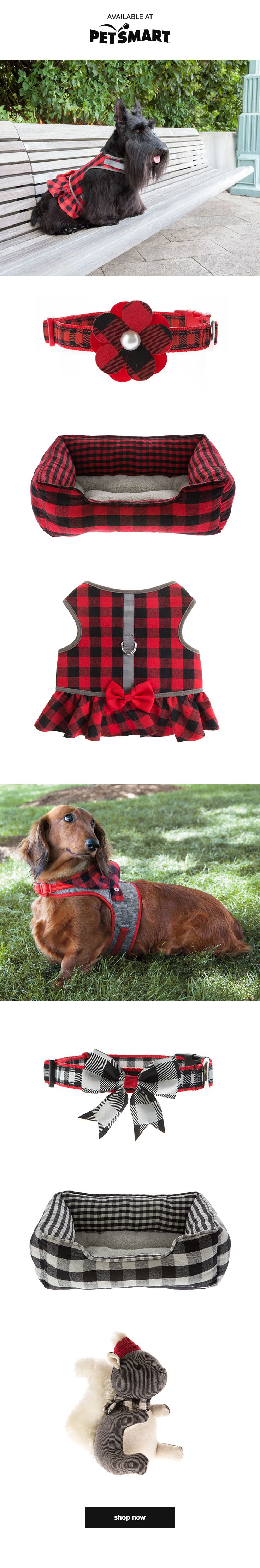 Flannel is all the rage this fall. Shop Martha Stewart Pets collars, toys, beds and dog apparel, available only at PetSmart!