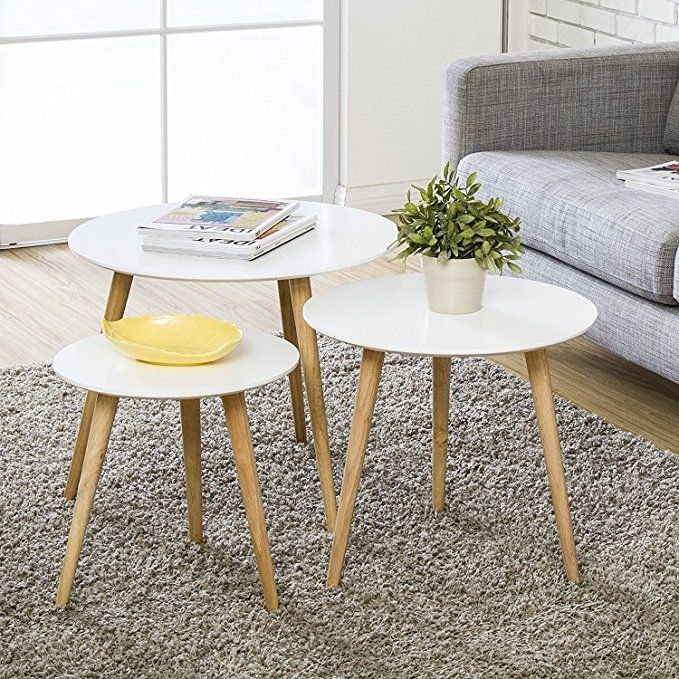Wood Coffee Table Round Set Of 3 Modern Decor End Side Table Night Stand Table Nesting Corner Table Telep Coffee Table Sofa Snack Table Round Wood Coffee Table